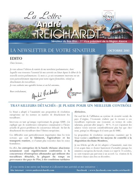 Newsletter electronique octobre 2013
