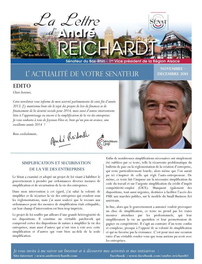 Newsletter electronique novembre decembre 2013