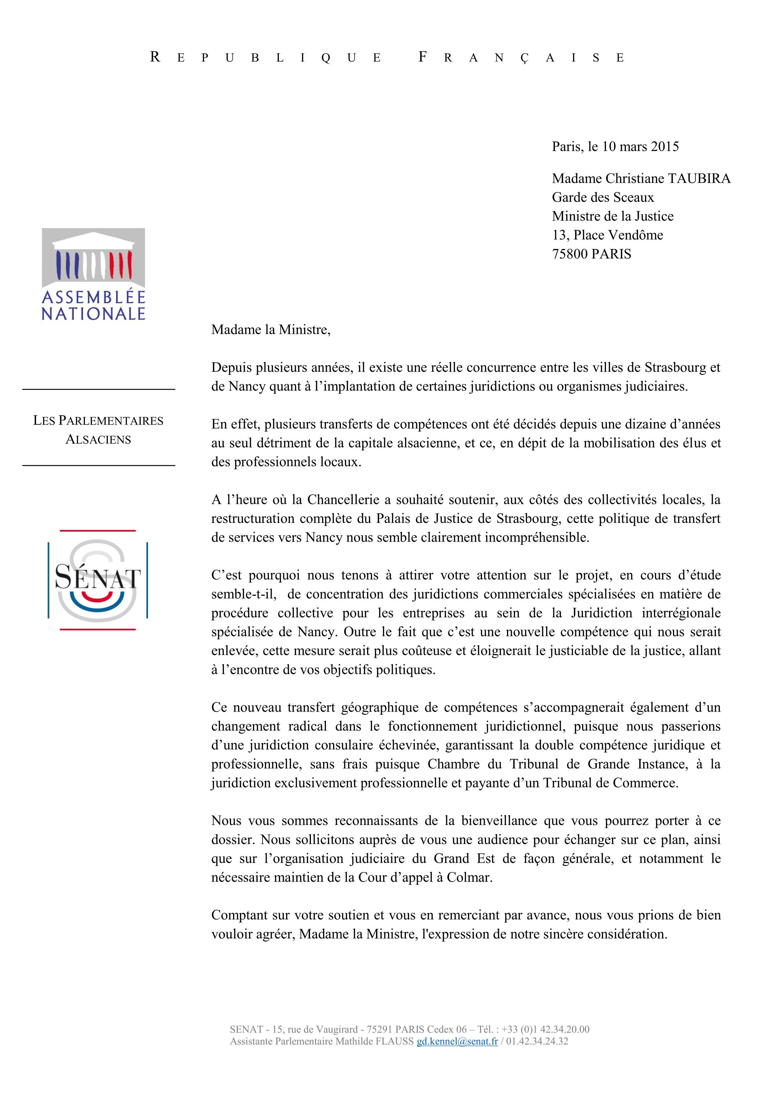 Courrier Taubira Parlementaires UMP UDI 13-03-15 (1)